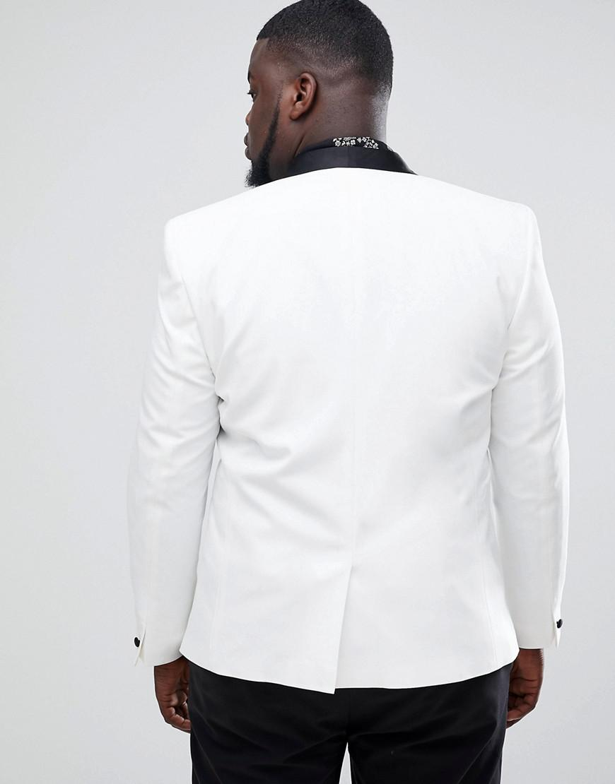a1718f369f1b4 Lyst - ASOS Plus Slim Tuxedo Suit Jacket In White With Black Contrast Lapel  in White for Men