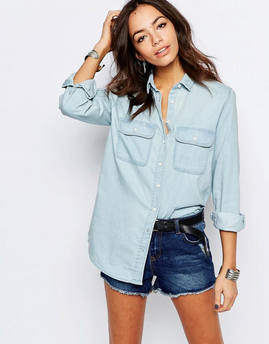 Lyst - New look Bleached Denim Boyfriend Shirt in Blue