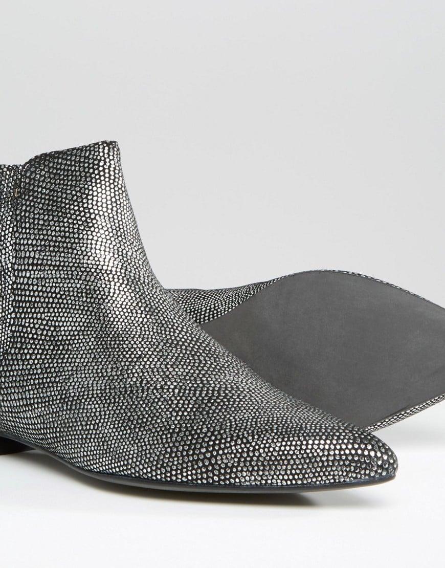 h by hudson silver lizard reine ankle boot in metallic lyst. Black Bedroom Furniture Sets. Home Design Ideas