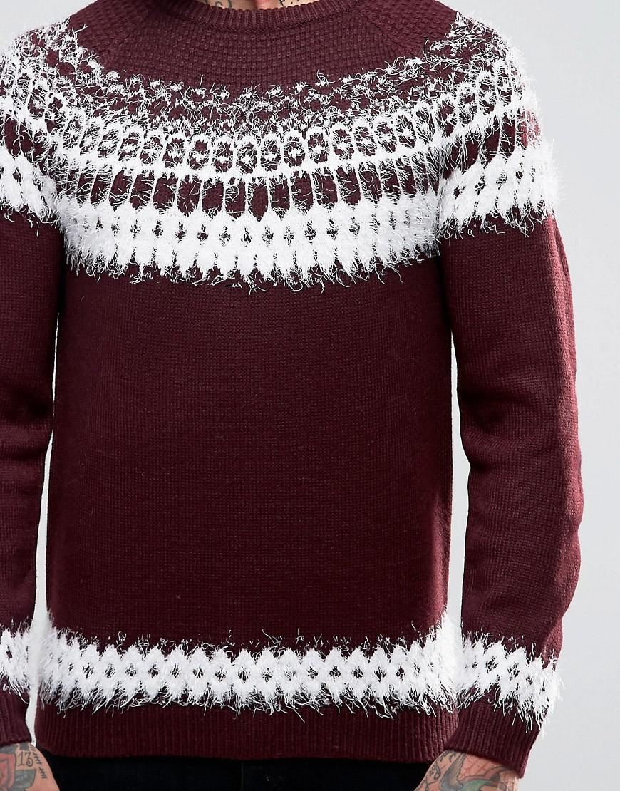 ASOS Synthetic Fairisle Jumper With Fluffy Yarn in Red for Men