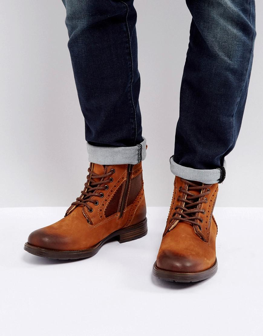 70046d9f219 Steve Madden Gannon Brogue Boots In Tan in Brown for Men - Lyst