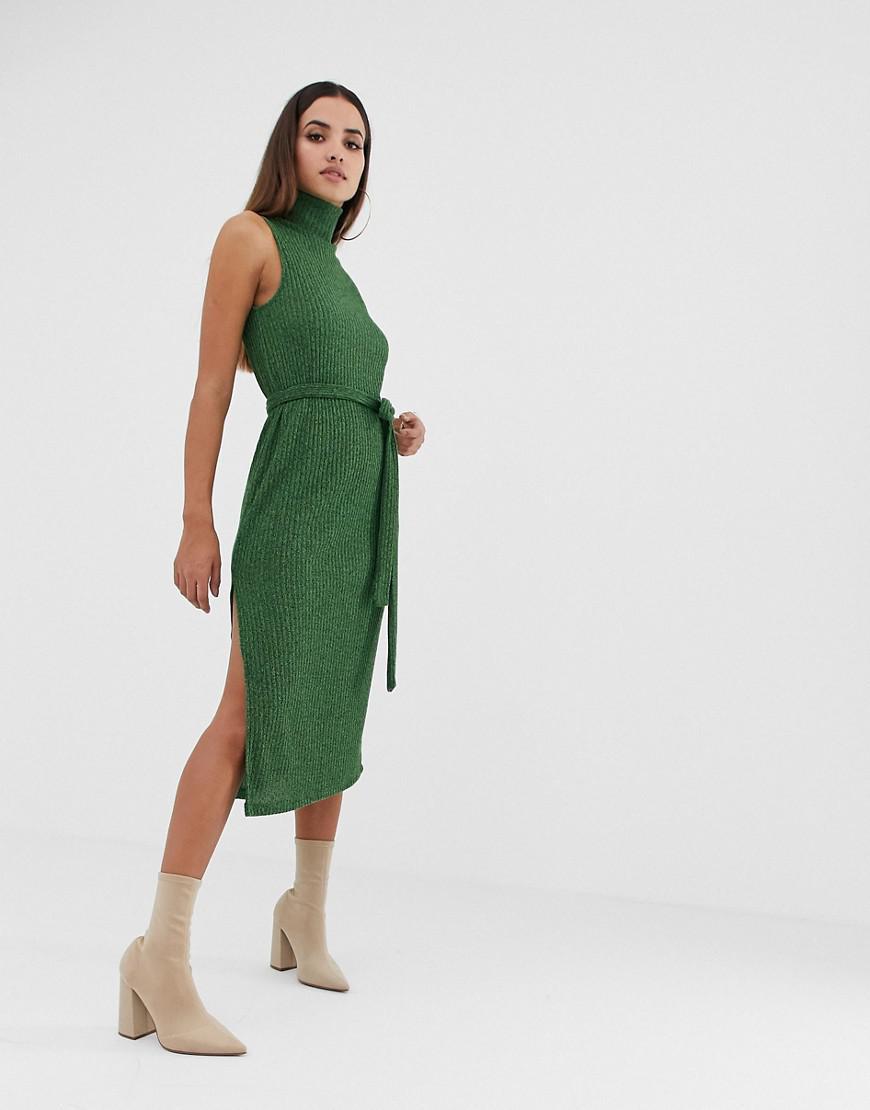 75e564a606c4e Lyst - ASOS High Neck Marl Rib Midi Dress With Self Belt in Green
