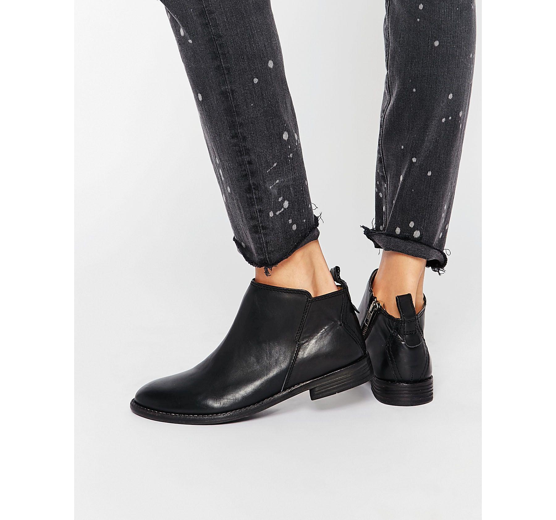 h by hudson black leather revelin ankle boot in black lyst. Black Bedroom Furniture Sets. Home Design Ideas