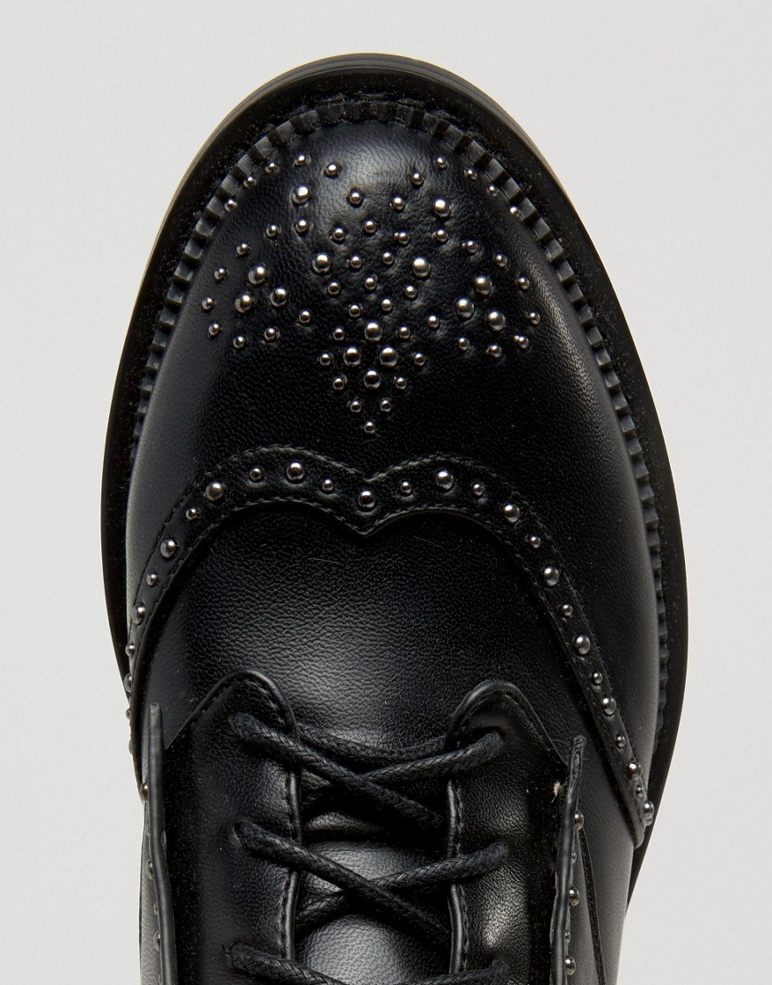 Lost Ink August Pin Stud Brogue Lace Up Flat Ankle Boots in Black