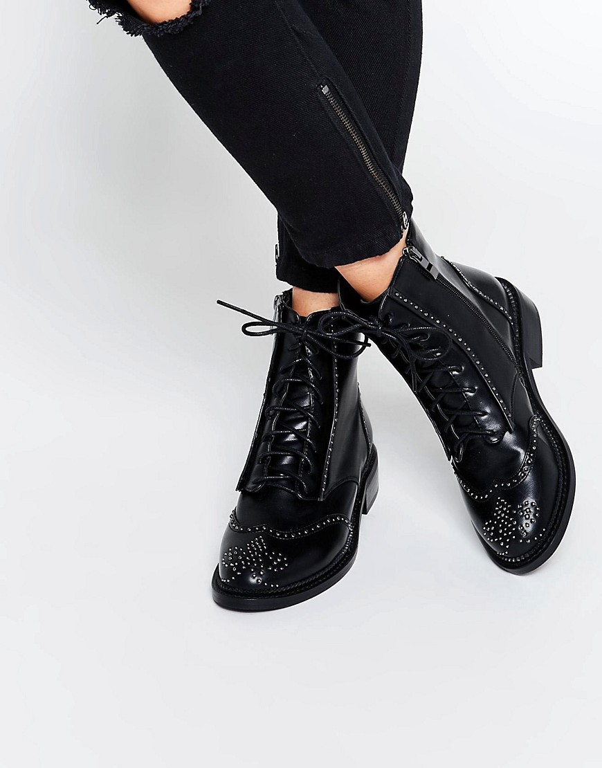 28bf307669 Lost Ink August Pin Stud Brogue Lace Up Flat Ankle Boots in Black - Lyst