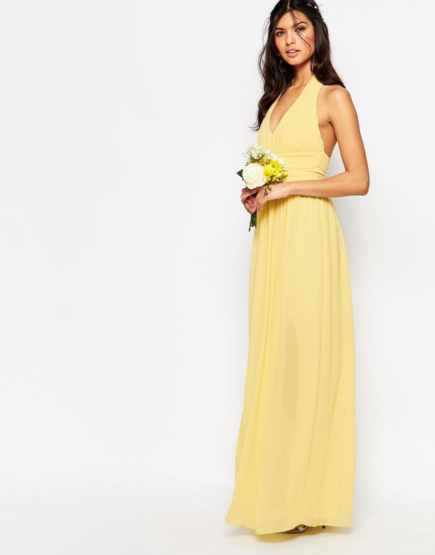 Tfnc london wedding halter chiffon maxi dress in yellow lyst for Yellow maxi dress for wedding