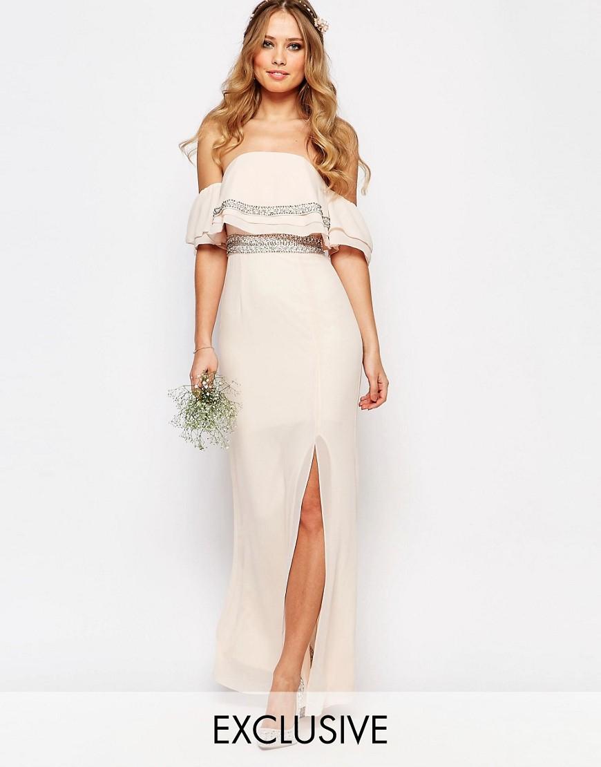 Tfnc london wedding bandeau embellished maxi dress pink for Shoes for maxi dress wedding