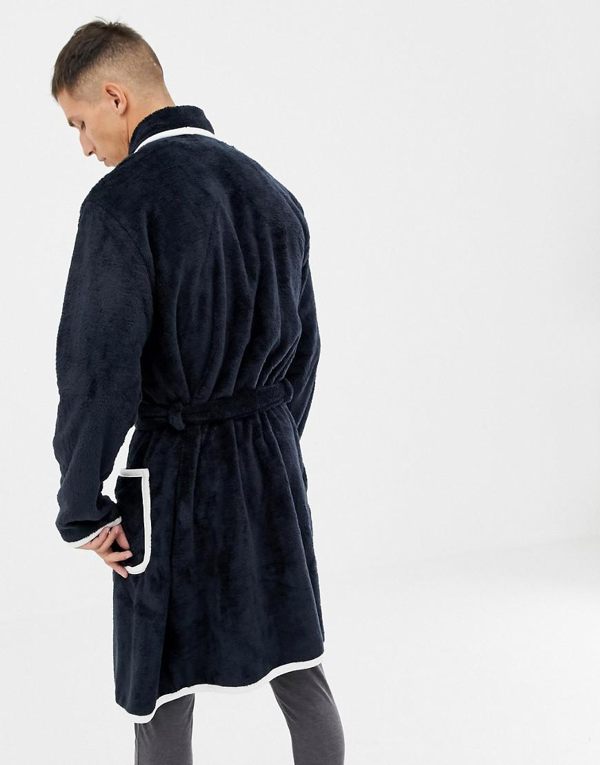 Asos Fluffy Dressing Gown In Navy With Ecru Piping in Blue for Men - Lyst dda8194e8