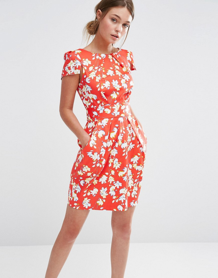 Closet Floral Print Short Sleeve Dress In Red Lyst