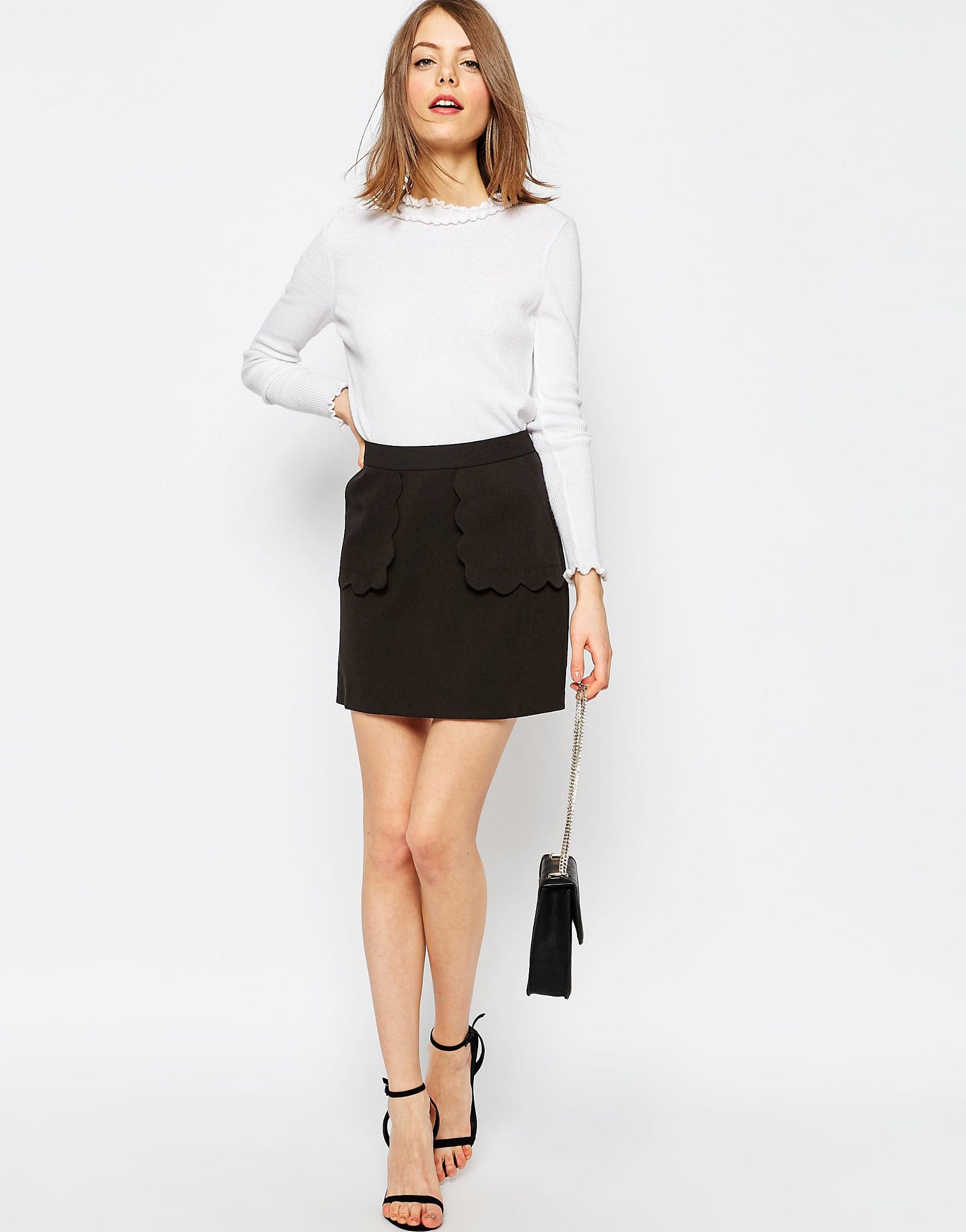 asos a line skirt with scallop pockets in black lyst