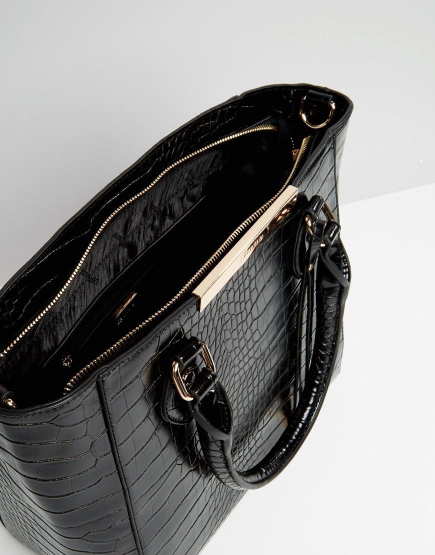 Dune Mock Croc Tote Bag in Black