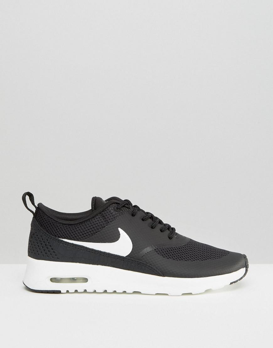 Nike Leather Air Max Thea Trainers In Black And White