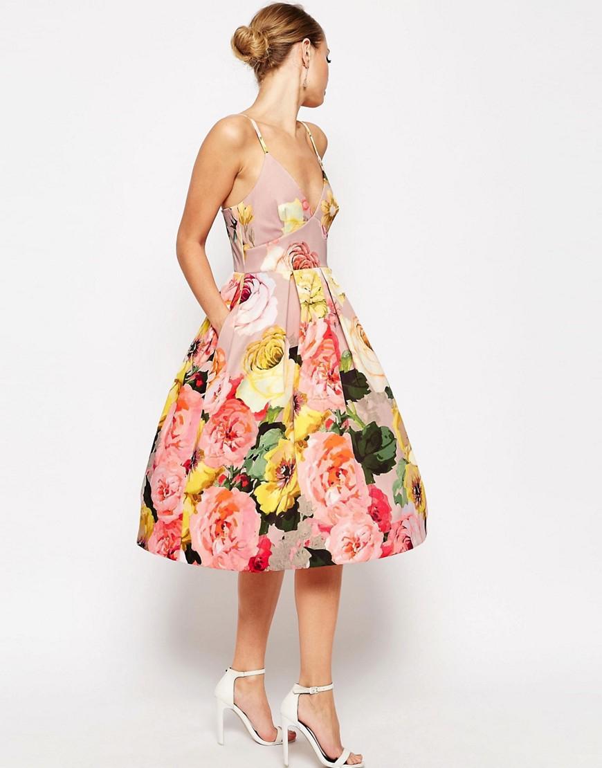 Asos Wedding Printed Pinny Midi Prom Dress In Multicolor