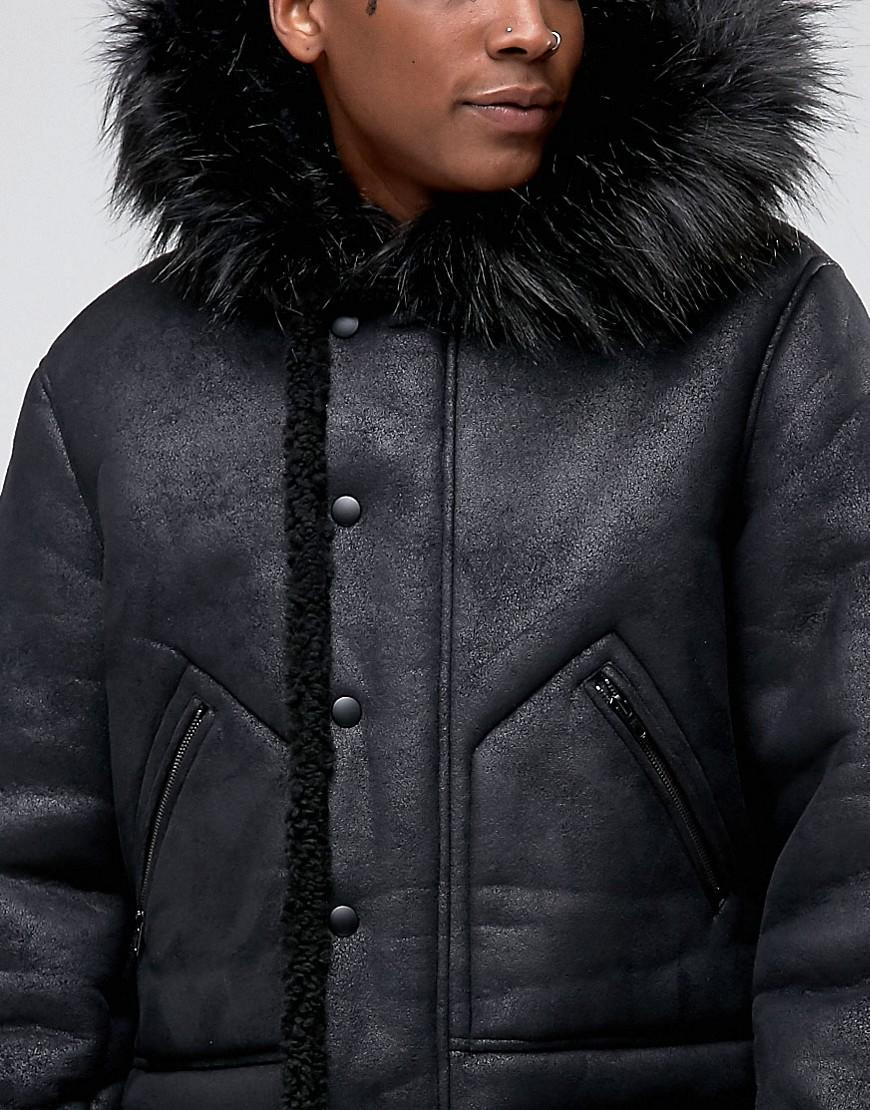 be63a1120 ASOS Faux Shearling Parka With Hood In Black for men
