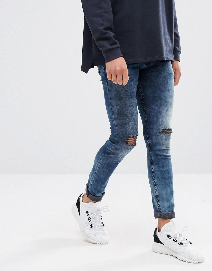 Slim Jeans In Acid wash Grey With Heavy Rips and Check Patches - Light grey Asos T8m6Ood