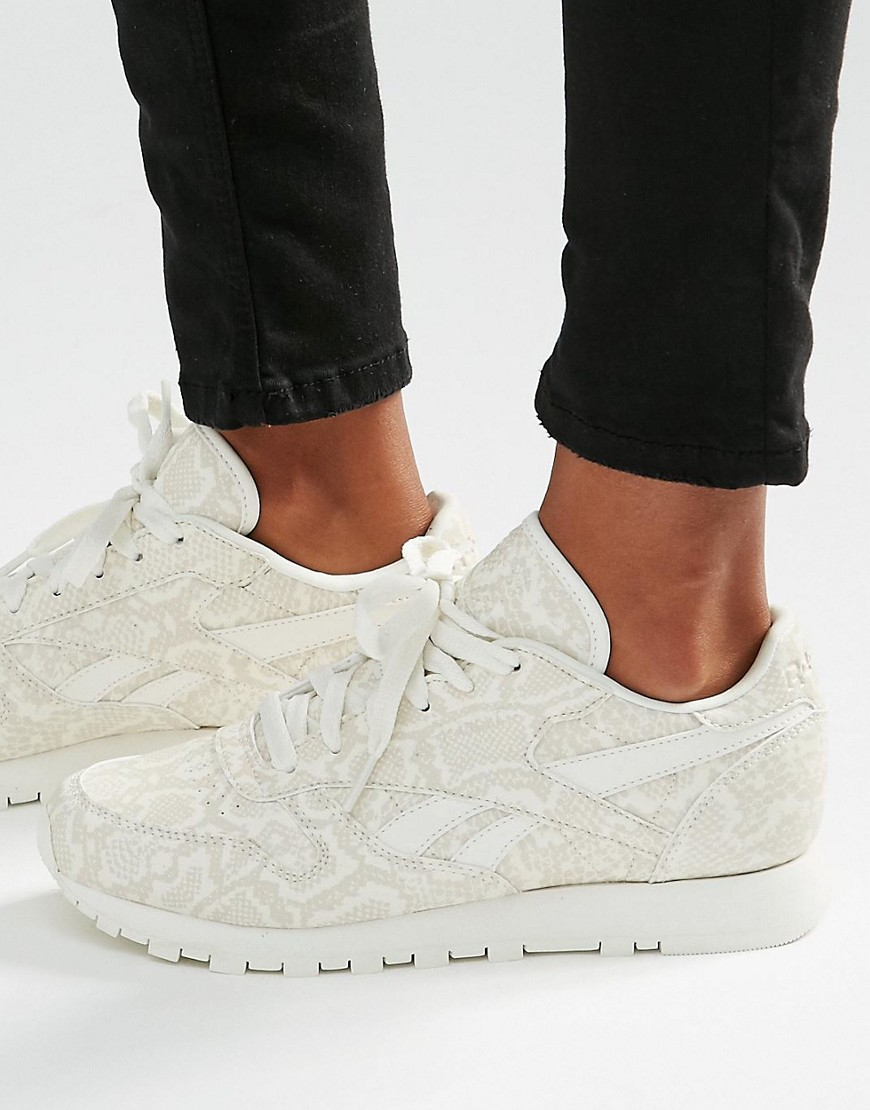 reebok classic sneakers in snake print leather white in white lyst. Black Bedroom Furniture Sets. Home Design Ideas