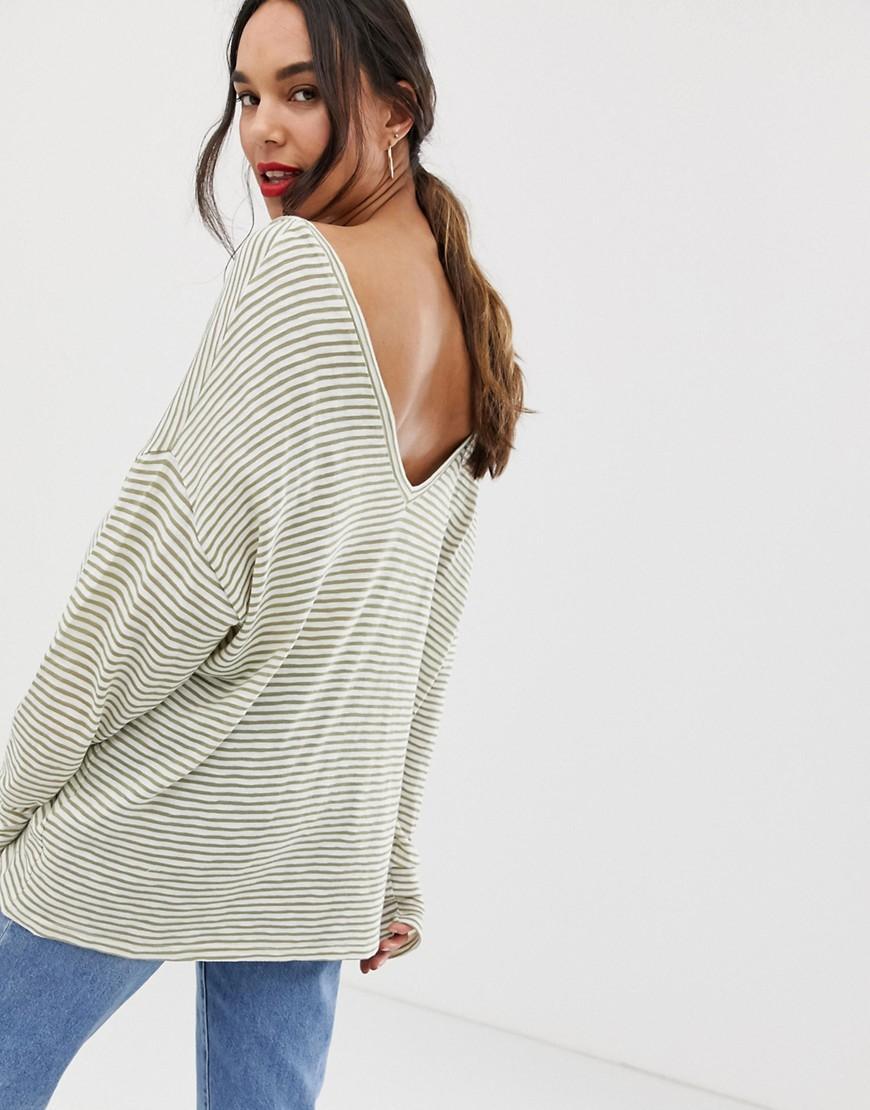 44e59c0561fba Lyst - ASOS Asos Design Maternity Oversized Stripe T-shirt With V Back And V  Front