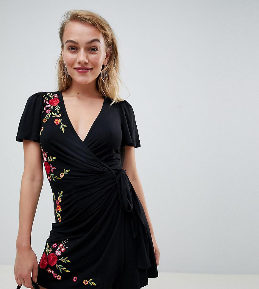 eaaac24923 Lyst - Asos Asos Design Petite Embroidered Wrap Dress in Black