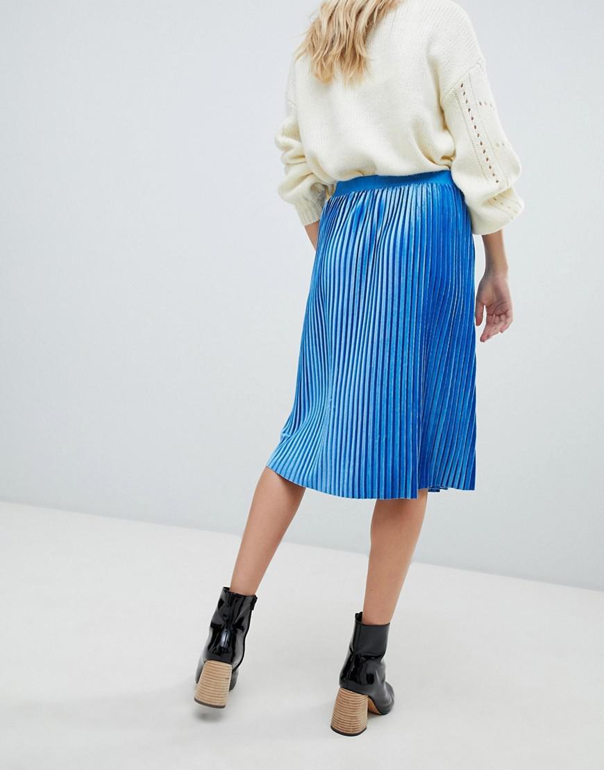 f07928ad3d Lyst - Soaked In Luxury Velvet Pleated Skirt in Blue