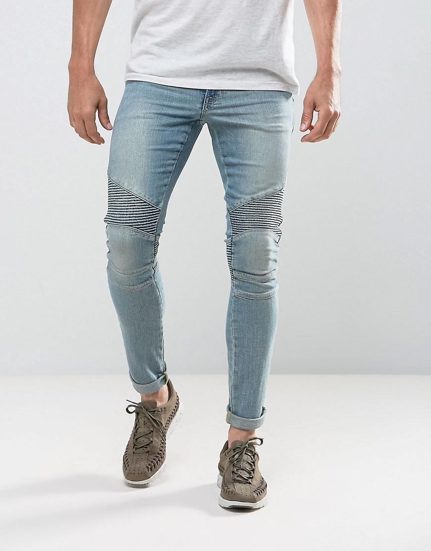 4a7e7253ed1 ASOS Extreme Super Skinny Jeans In Light Wash Biker in Blue for Men ...