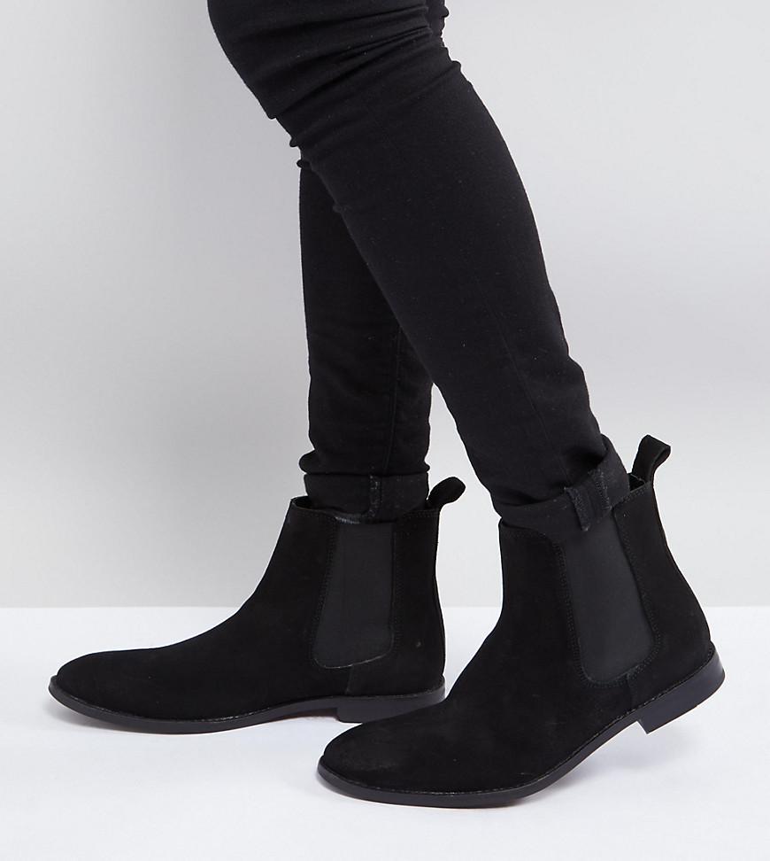 991b8e1c864 Men's Asos Wide Fit Chelsea Boots In Black Suede