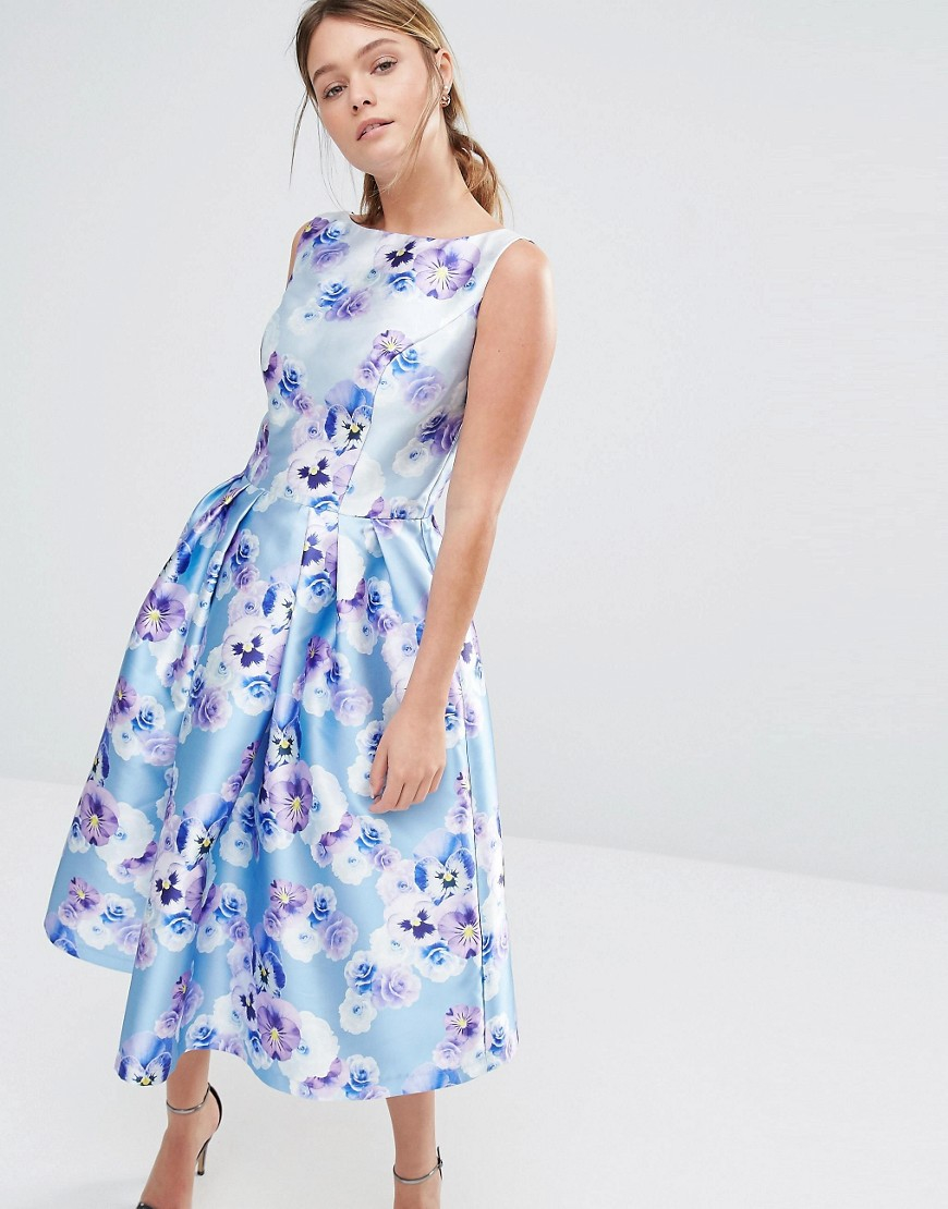 Chi Chi London Sateen Prom Dress In Floral Print In Blue