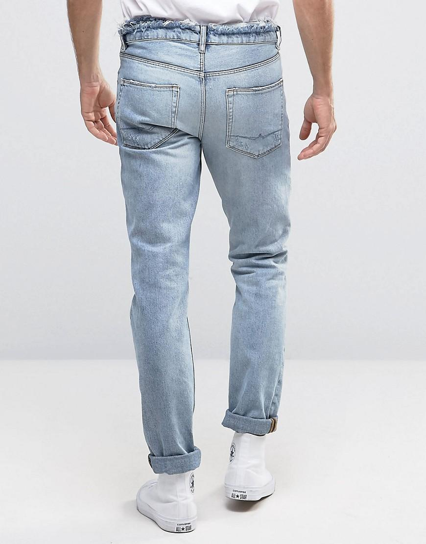 ASOS Denim Slim Jeans In Bleach Wash With Rips And Distressed Waistband in Blue for Men