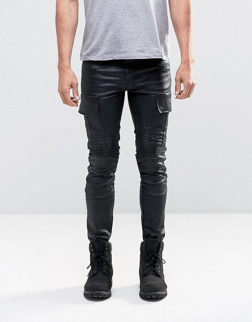 asos black super skinny jeans in coated with biker styling and cargo. Black Bedroom Furniture Sets. Home Design Ideas
