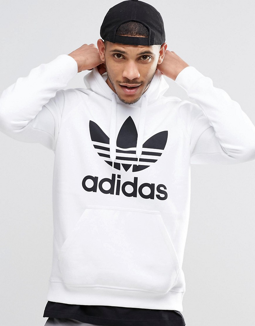 adidas originals trefoil pull over hoodie ay6474 in white for men lyst. Black Bedroom Furniture Sets. Home Design Ideas