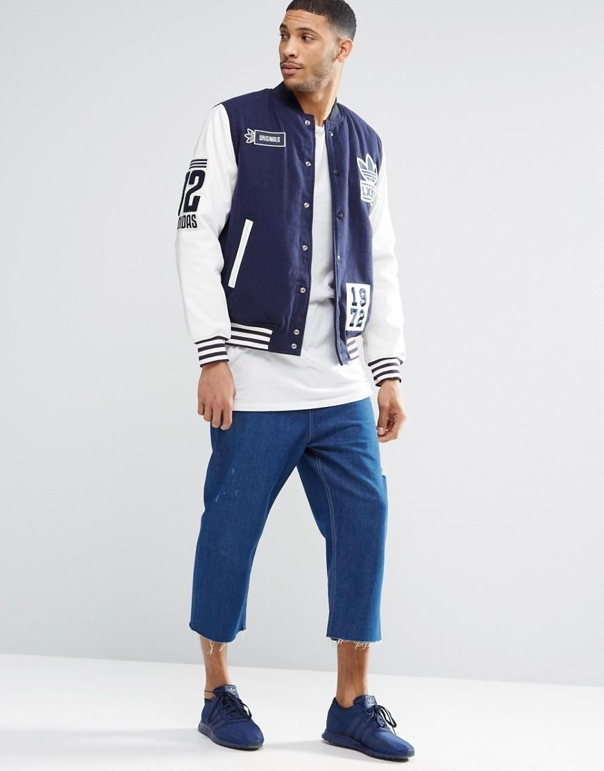 adidas Originals Badge Varsity Jacket Ay9147 - Blue for Men
