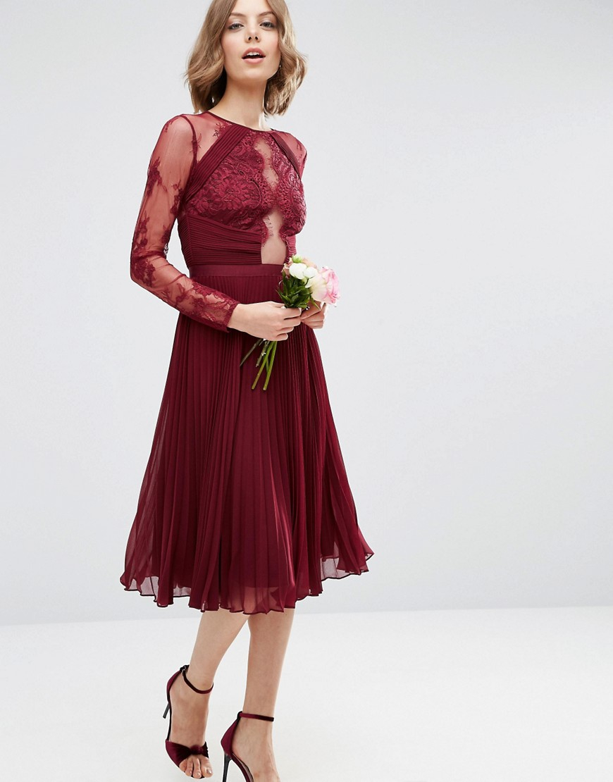 e9d8fc56a071 Lyst - ASOS Wedding Pretty Lace Eyelash Pleated Midi Dress in Red
