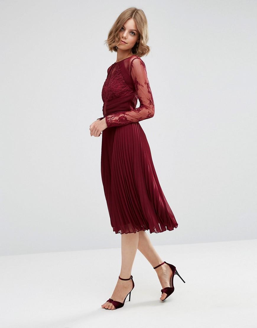 Asos Wedding Pretty Lace Eyelash Pleated Midi Dress in Red ...