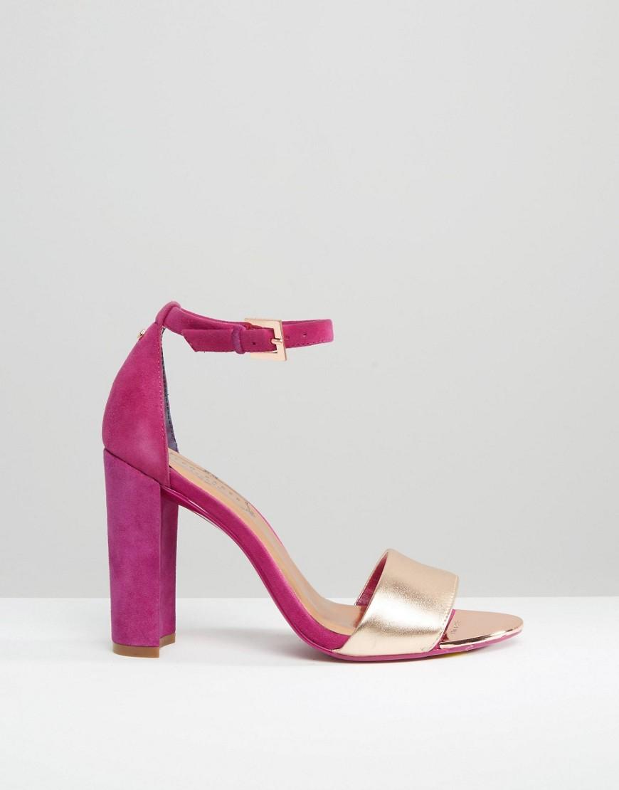 Ted baker Hot Pink Metallic Block Heel Sandals in Pink   Lyst