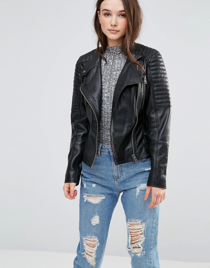 Barney S Originals Leather Biker Jacket With Quilting And