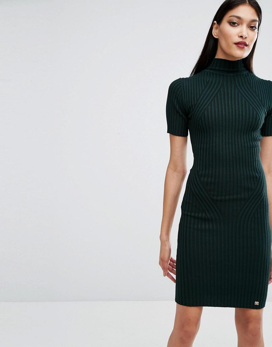 39a757c85ca Lyst - Lipsy Rib Detail Knit Dress in Green