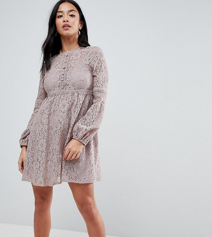 a3df8fc3463 Little Mistress. Women s Gray All Over Lace Smock Dress With Bell Sleeve  Detail