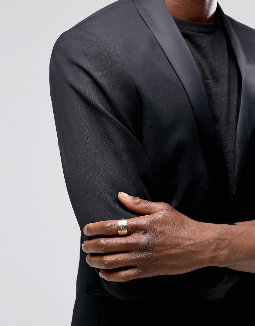 ASOS Denim Leaf Ring In Gold in Metallic for Men