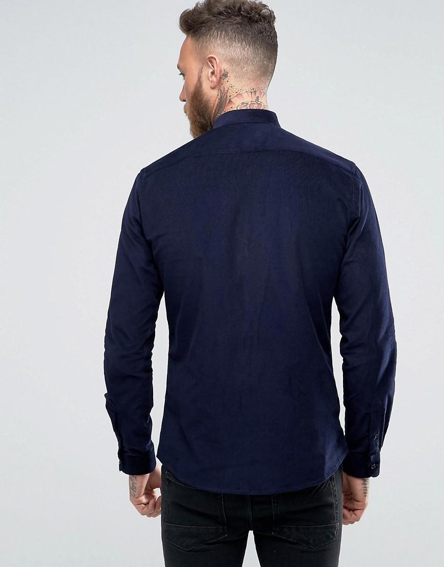 Heart & Dagger Corduroy Heart And Dagger Grandad Shirt In Cord in Navy (Blue) for Men