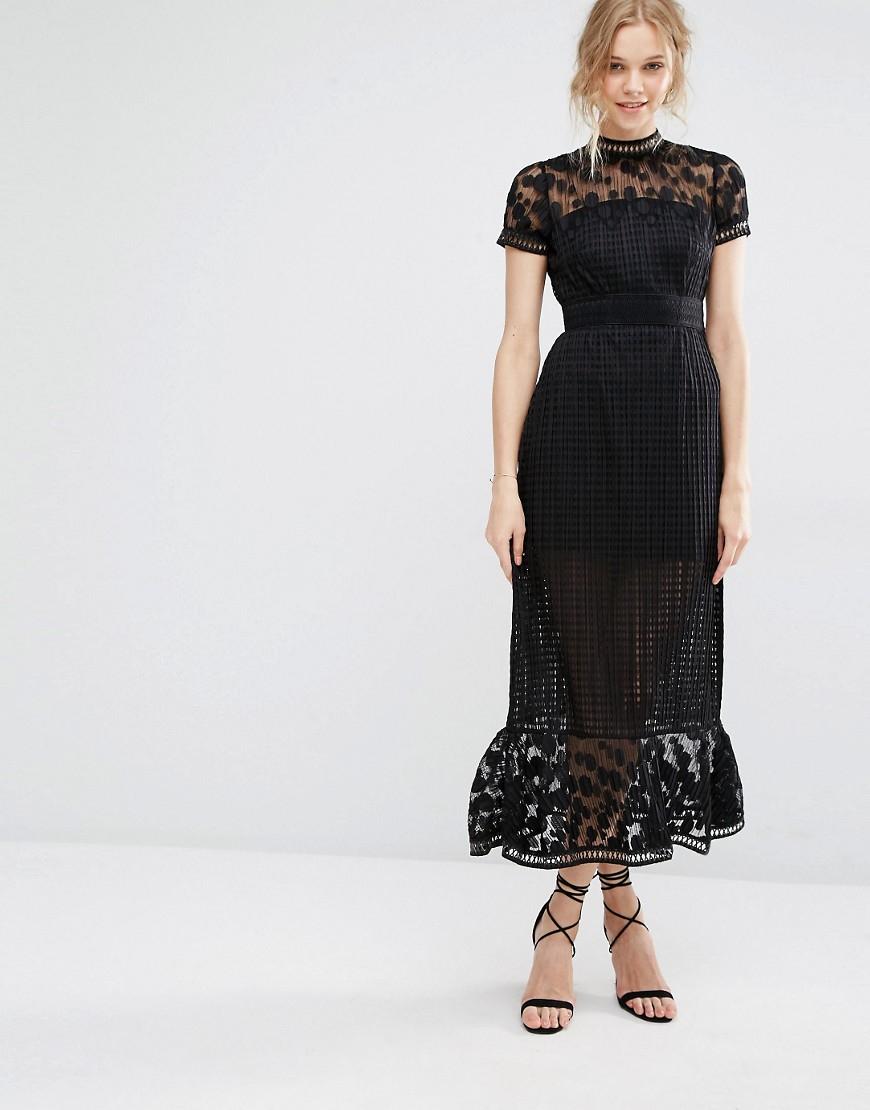 81dd04359d Foxiedox Elodie Pleated Lace Cutwork Midi Dress - Black in Black - Lyst