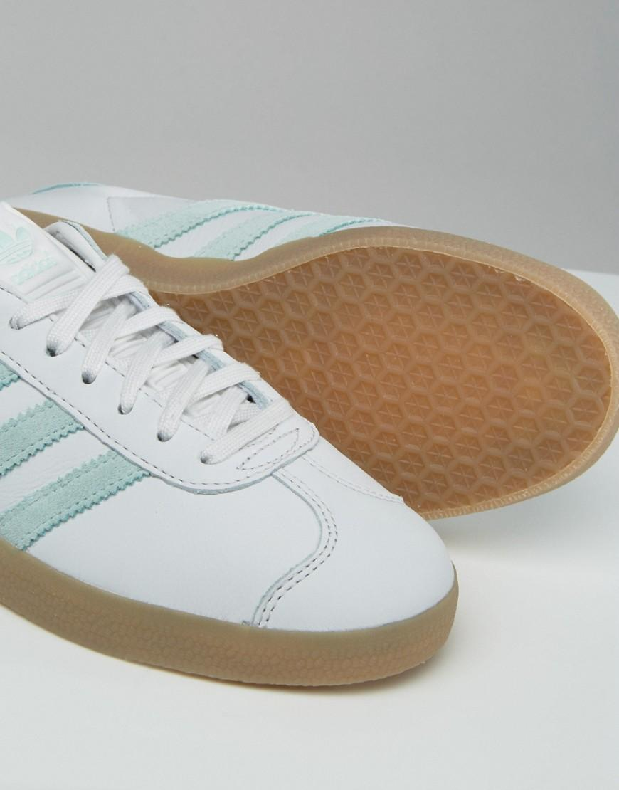 Originals White And Mint Gazelle Trainers With Gum Sole