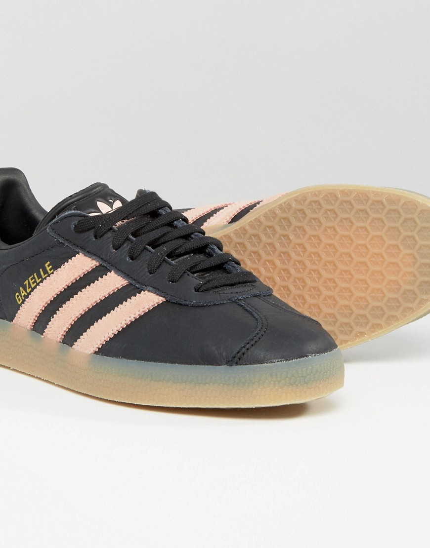 Originals Black And Pink Gazelle Trainers With Gum Sole