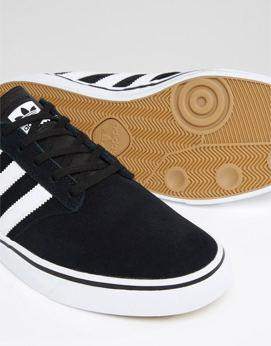 adidas Originals Leather Seeley Premiere Trainers In Black B72578 for Men