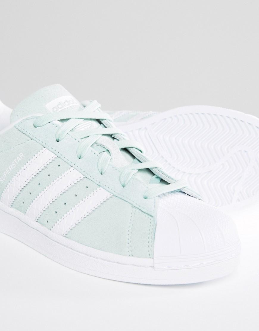 separation shoes 82c83 e4ed3 Lyst - adidas Originals Originals Mint Suede Superstar Sneakers in Green