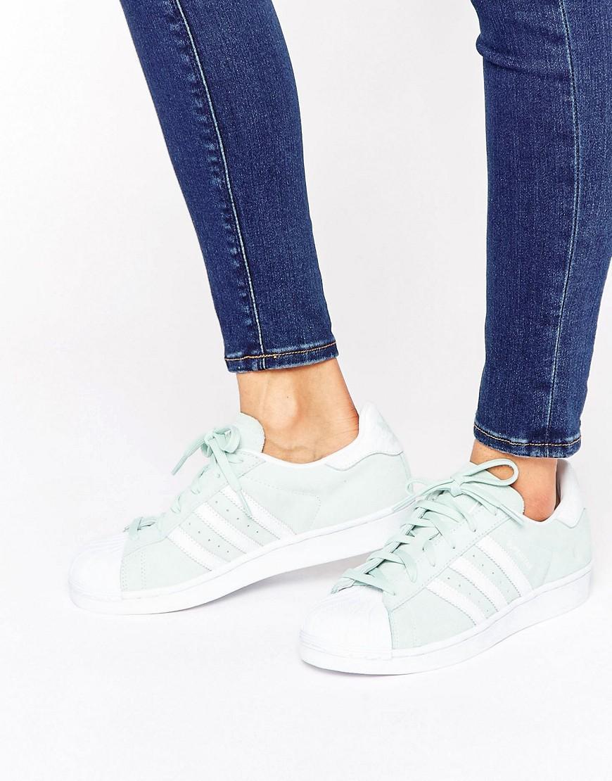 adidas Originals Originals Mint Suede Superstar Sneakers in Green ...
