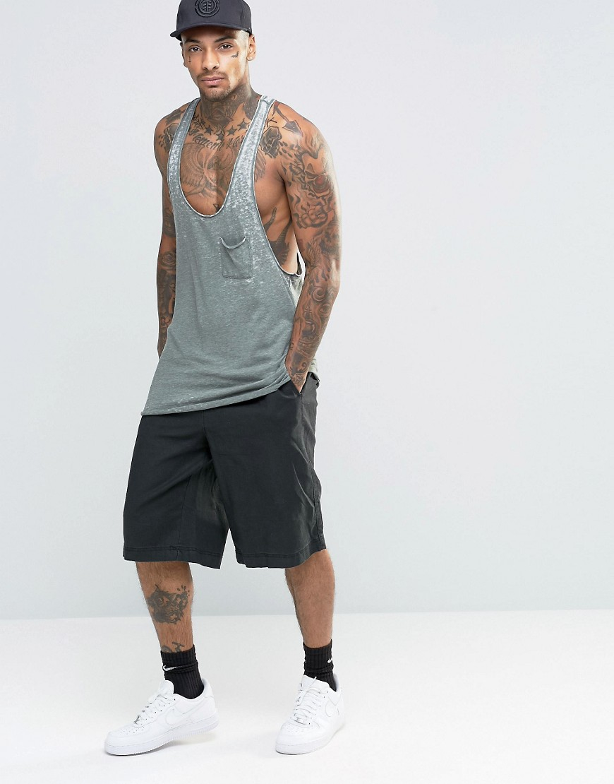 ASOS Synthetic Longline Tank With Burnout And Extreme Racer Back In Khaki in Green for Men