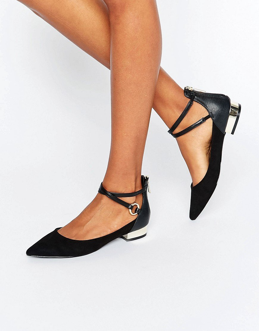 Aldo Biacci Ankle Strap Plated Heel Flat Shoes In Black Lyst