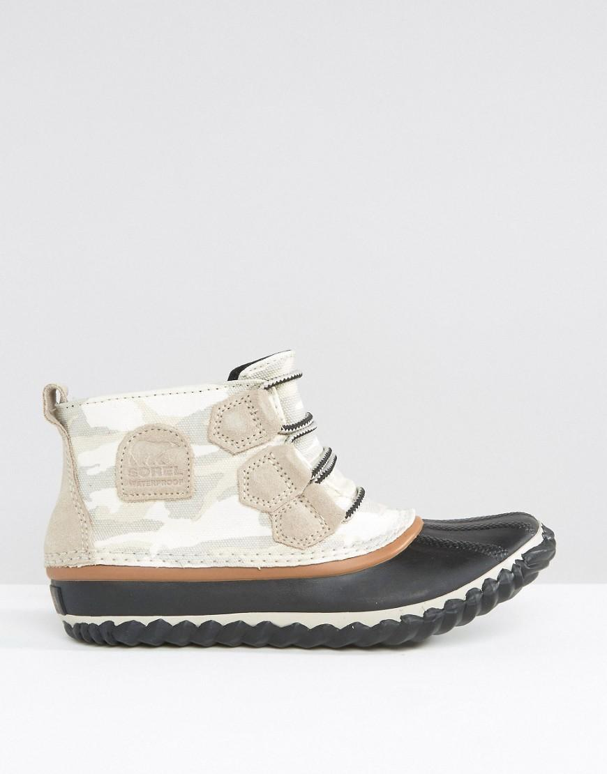 Sorel Out N About Canvas Lace Up Ankle Boots in Blue