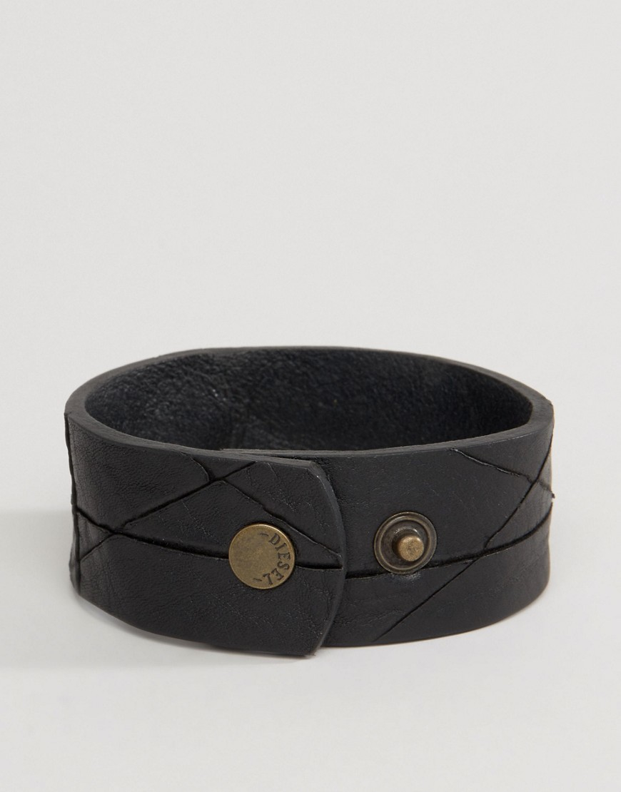 Diesel A Hustle Leather Cuff Bracelet In Black In