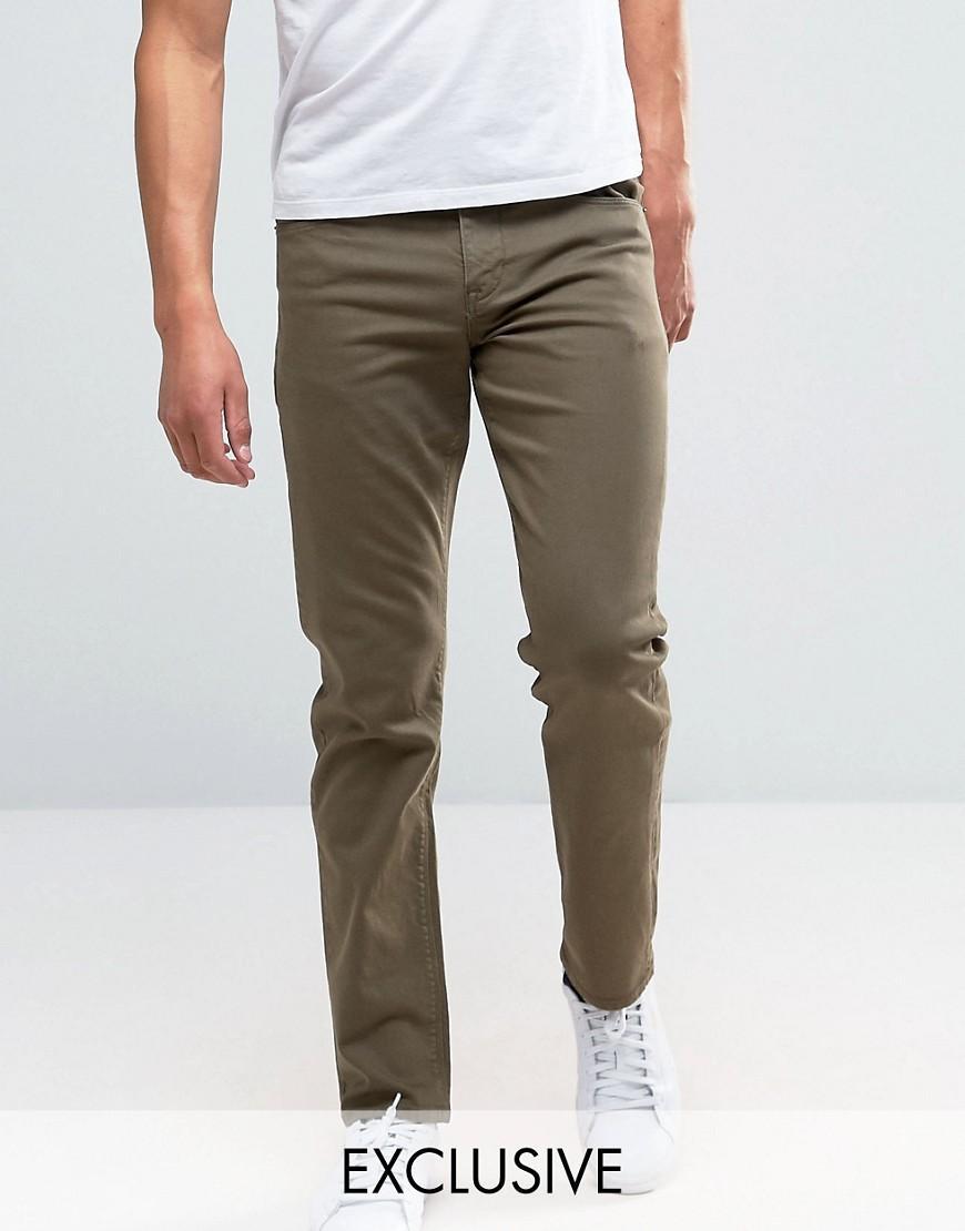 lyst noak stretch slim jeans in dark khaki in green for men. Black Bedroom Furniture Sets. Home Design Ideas