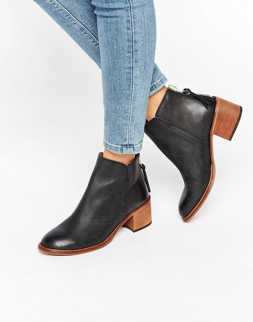 Back Zip Leather Heeled Ankle Boots
